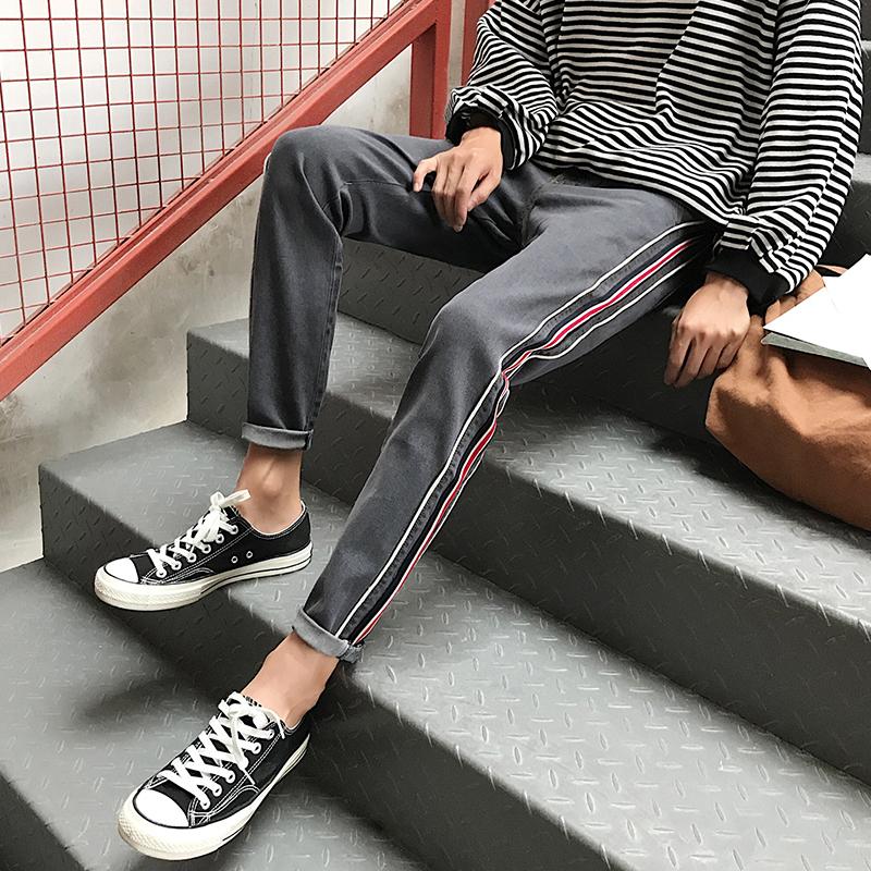 牛仔裤男装春季2018新款韩版修身复古学生潮流时尚百搭小脚男裤子 发货周期:一般在付款后2-90天左右发货,具体发货时间请以与客服协商的时间为准