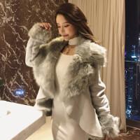冬季新款时尚名媛气质大翻领长袖拼接毛毛加厚短款开衫外套女
