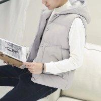 马甲男秋冬外套韩版潮流帅气学生修身短款个性坎肩外套棉背心冬季