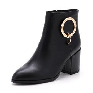 ST&SAT/星期六冬短靴女金属扣饰尖头高跟女靴SS74118521