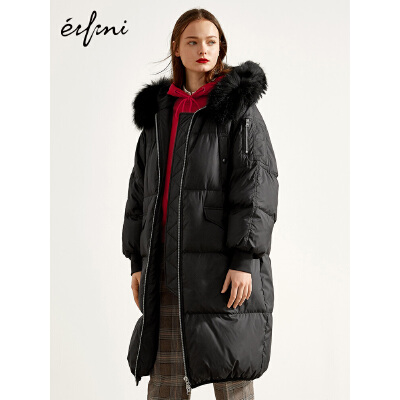 2件4折 伊芙丽2018冬装新款连帽外套黑色休闲蓬松大毛领加厚羽绒服女