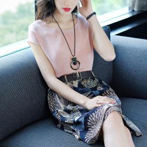安妮纯2019春夏新款女装套装真丝上衣复古印花半身裙子两件套
