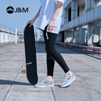 jm快乐玛丽2018春季涂鸦系带舒适板鞋休闲平底女士帆布鞋子93077W