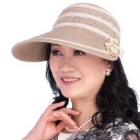 夏季中老年女士大沿遮阳帽可折叠可调节太阳帽防晒透气妈妈帽