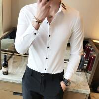 男士英伦修身长袖衬衫发型师酒吧KTV夜店工作服衬衣休闲打底小衫
