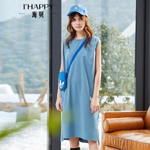 海贝2018新款无袖连衣裙夏韩版小清新裙子纯色显瘦气质圆领