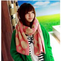 新款毛线围巾韩国女秋冬 圆点长款撞色 韩版保暖围脖