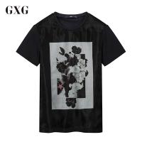 GXGT恤男装 夏季男士时尚青年气质潮流藏青色休闲圆领短袖T恤男