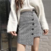 格子半身裙短裙女不规则职业高腰裙子百搭BF复古风排扣A字包臀裙