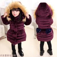冬季女童棉衣冬装洋气3新款4中长款韩版儿童羽绒加厚金丝绒外套潮秋冬新款 连帽暗紫红色 90cm建议身高80cm