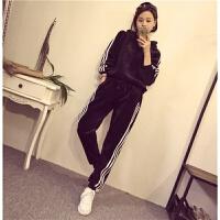 运动套装女士冬季韩版天鹅金丝绒休闲运动服卫衣加绒加厚连帽套头宽松两件套潮