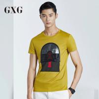 GXG短袖T恤男装 夏季男士时尚修身休闲个性图案黄色简约圆领T恤潮