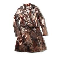 姐姐优品 女装春季款 欧美风亮面个性风衣中长款西装领长袖外套女
