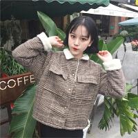 毛呢外套女短款韩版学生少女冬天羊羔毛保暖原宿风格子呢子开衫潮