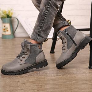 16.5cm~23cm巴布豆童鞋 男童马丁靴2016冬季新款儿童短靴潮流单靴男童靴子