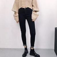 2018韩版女装剪边高腰显瘦黑色牛仔裤女小脚铅笔裤子外穿打底长裤