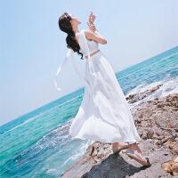 三亚巴厘岛沙滩裙女夏2018新款露腰显瘦海边度假白色仙气礼服长裙 白色