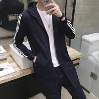 新款2018秋季新品中长款连帽风衣男士青年学生薄款韩版印花外套男
