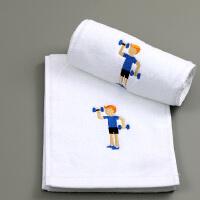 纯棉运动毛巾 加长110cm健身房吸水速干跑步吸汗毛巾定制logo