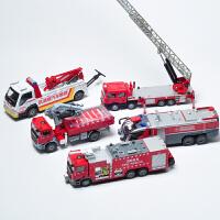 套装 云梯消罐消防车 合金工程车模型玩具消防5件套