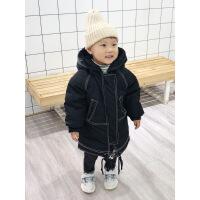 儿童棉衣外套加厚中长款男童冬装5宝宝棉袄2小孩羽绒3岁4冬季 黑色