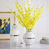 新中式陶瓷花瓶简约带盖富贵竹花瓶创意家居摆设插干花景德镇瓷器