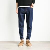 听风春季日系深蓝色牛仔裤男长裤 青少年修身直筒明线休闲裤潮流