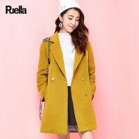 拉夏贝尔puella普埃拉春款韩版宽松茧型中长款毛呢大衣女20009101