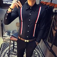 衬衫男长袖春装新款拼接假两件吊带长袖修身衬衣薄款潮流上衣
