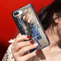夏日蓝光玫瑰花壳苹果x手机壳硅胶7p潮牌8plus新款iphone6s日韩女