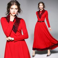 秋冬季红色收腰长款长袖连衣裙蕾丝拼接内搭气质超长款大摆裙女