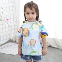 宝宝短袖罩衣 儿童反穿衣吃饭衣婴儿围兜食饭兜画画衣夏季