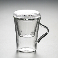 锤纹耐热玻璃马克杯 创意过滤带盖泡茶杯子