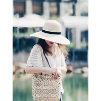 草帽女沙滩帽海边出游大檐太阳帽小清新女士百搭大沿遮阳帽子