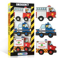 英文原版Playtown Chunky Pack Emergency 交通工具 纸板书车子玩具书 低幼儿童绘本 3册 警车、消防车、救护