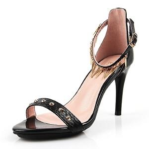 BASTO/百思图夏季专柜同款山羊皮革女凉鞋TY702BL6 专柜2