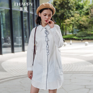 海贝2017冬季新款女装上衣 纯棉翻领贴布印花中长款长袖白色衬衫