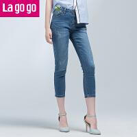 【清仓3折价59.7】Lagogo2019年夏季新款浅色紧身牛仔裤女休闲款中长小脚裤铅笔裤