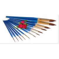 好吉森鹤温莎牛顿蓝色短杆水彩笔混合貂毛圆头水彩笔水粉画笔000-8号(0-00-000-1-2-4-6-8)毛笔画笔8支套装+送品6011
