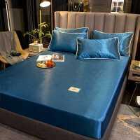凉席1.8m床冰丝席纯色凉感冰丝席可折叠三件套空调席夏天单人席子
