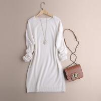 品质山羊绒衫女套头圆领宽松大码中长款加厚连衣裙打底毛衣