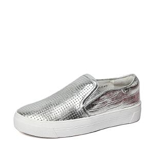 Belle/百丽春季专柜同款贴膜羊皮女鞋(冲孔)BJBB4AM6女乐福鞋