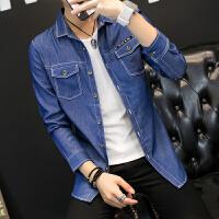 牛仔衬衫男长袖春秋季潮男装青少年韩版修身休闲衬衣男士外套薄款