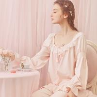 宫廷睡衣女秋季蕾丝莫代尔长袖公主睡衣可爱家居服套装 柔粉色
