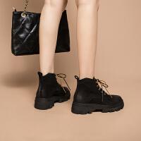 玛菲玛图秋冬真皮马丁靴女欧美中跟女短靴时尚百搭厚底短筒靴小裸靴时装靴3508-2
