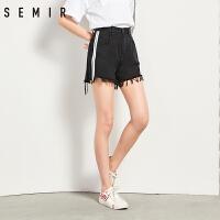 森马牛仔短裤女学生夏季新款撞色毛边纯棉破洞裤子学生韩版潮流