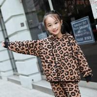 女童2018秋冬亲子装新款洋气加绒加厚中大童冬衣两件套装季保暖卫 深棕色