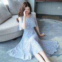 连衣裙女夏季新款韩版时尚气质名媛露肩短袖印花雪纺打底裙子