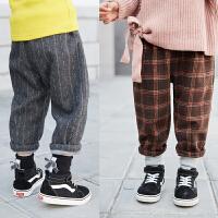 女童加绒裤子冬季新款加厚格子长裤条纹百搭中大儿童休闲冬裤