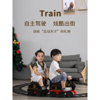 复古可坐遥控电动小火车汽车儿童玩具套装轨道男女孩3岁四轮童车